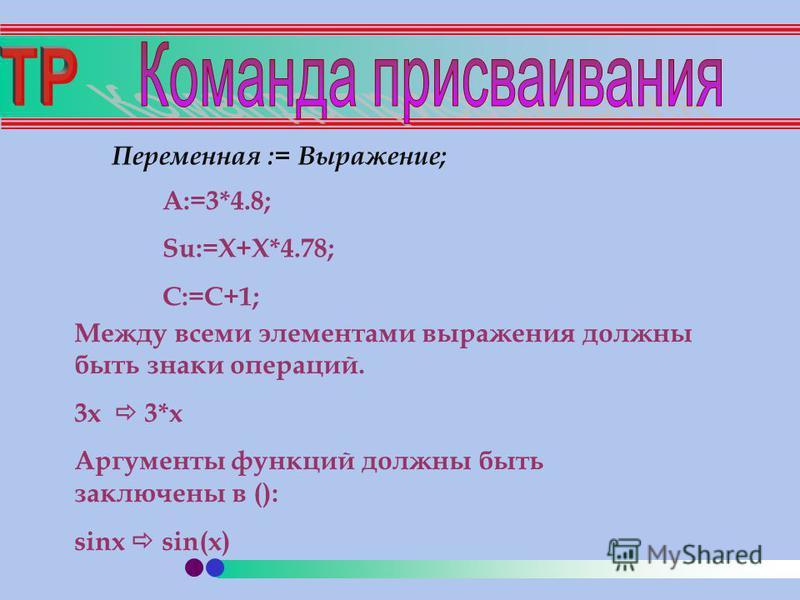 Переменная := Выражение; A:=3*4.8; Su:=X+X*4.78; C:=C+1; Между всеми элементами выражения должны быть знаки операций. 3 х 3*х Аргументы функций должны быть заключены в (): sinx sin(x)