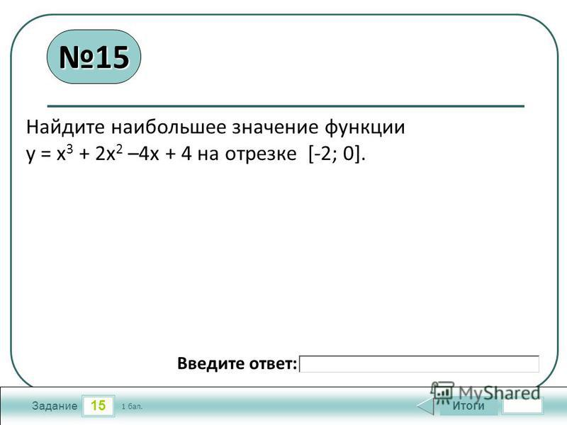15 Задание Итоги 1 бал. Введите ответ: Найдите наибольшее значение функции у = х 3 + 2 х 2 –4 х + 4 на отрезке [-2; 0]. 1515
