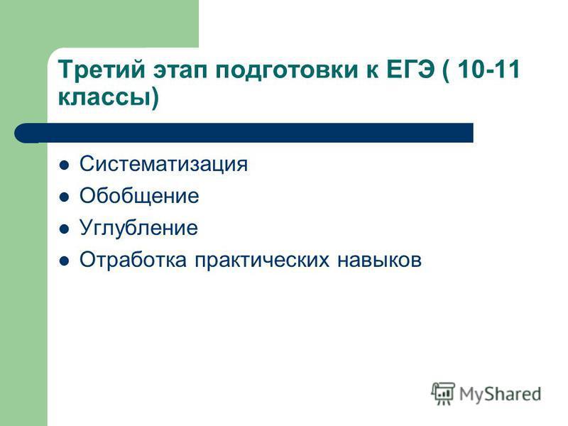 Третий этап подготовки к ЕГЭ ( 10-11 классы) Систематизация Обобщение Углубление Отработка практических навыков