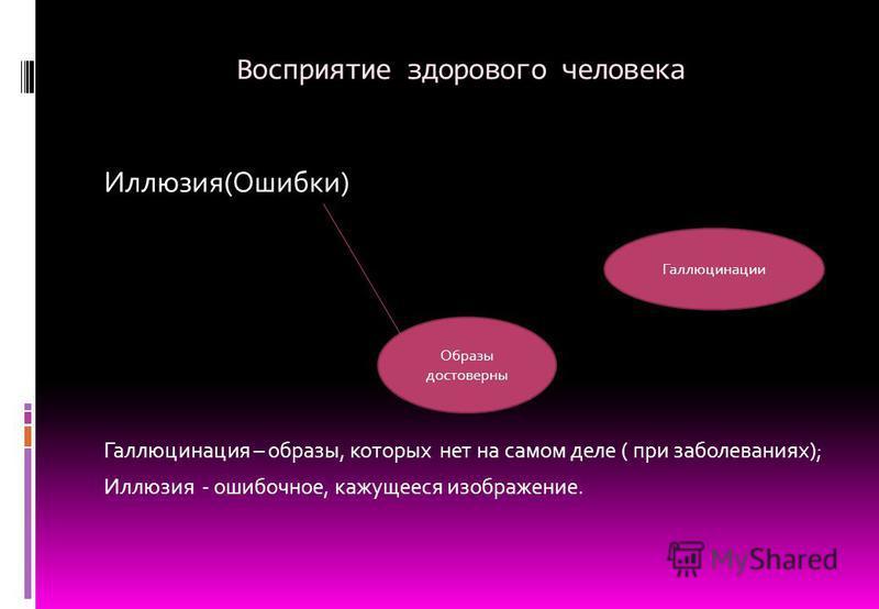 Восприятие здорового человека Иллюзия(Ошибки) Галлюцинация – образы, которых нет на самом деле ( при заболеваниях); Иллюзия - ошибочное, кажущееся изображение. Образы достоверны Галлюцинации