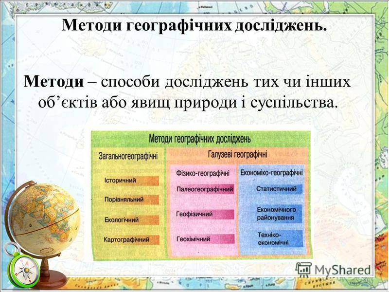 Методи географічних досліджень. Методи – способи досліджень тих чи інших обєктів або явищ природи і суспільства.