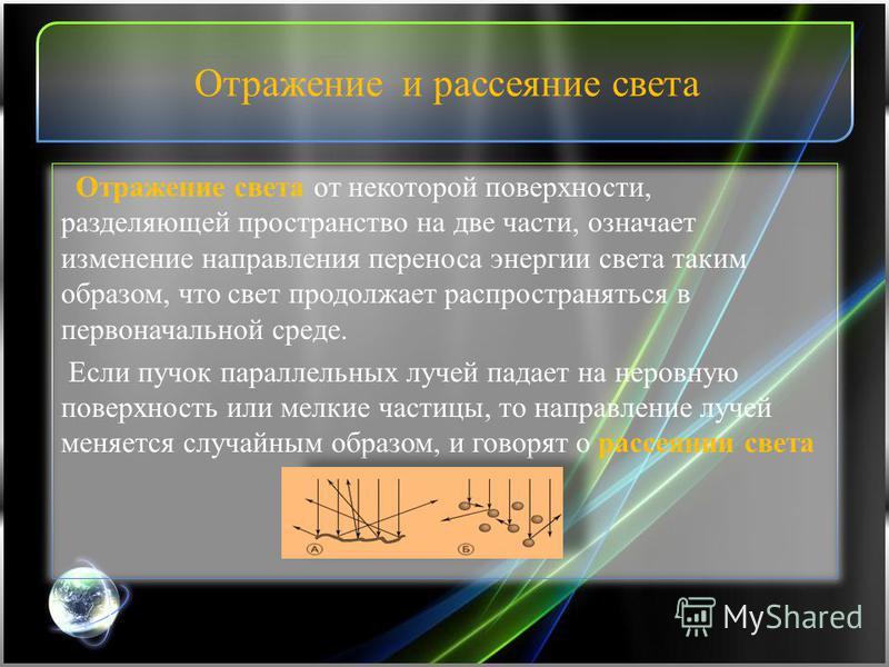 Отражение и рассеяние света Отражение света от некоторой поверхности, разделяющей пространство на две части, означает изменение направления переноса энергии света таким образом, что свет продолжает распространяться в первоначальной среде. Если пучок