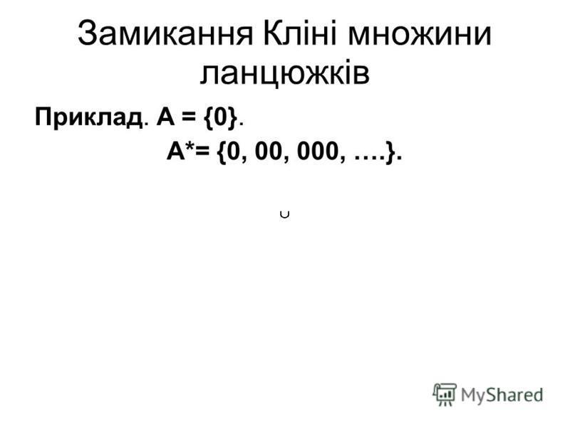 Замикання Кліні множини ланцюжків Приклад. А = {0}. A*= {0, 00, 000, ….}.