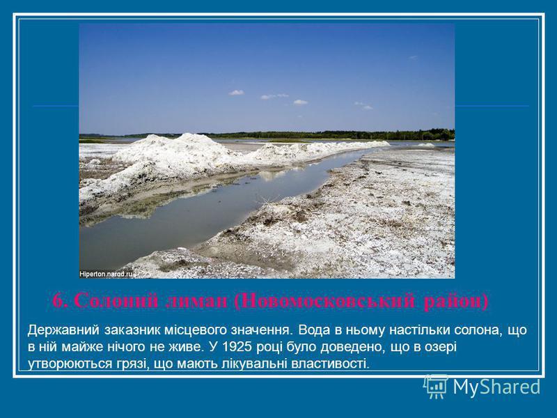 6. Солоний лиман (Новомосковський район) Державний заказник місцевого значення. Вода в ньому настільки солона, що в ній майже нічого не живе. У 1925 році було доведено, що в озері утворюються грязі, що мають лікувальні властивості.