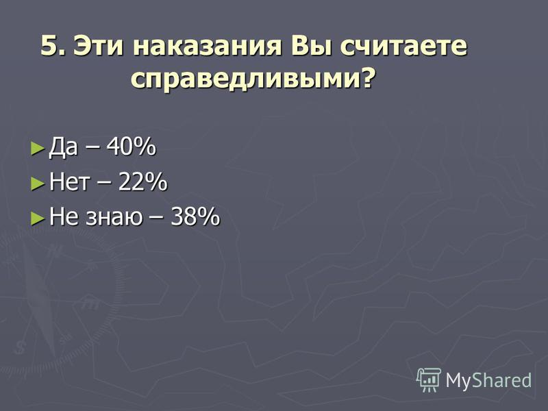 5. Эти наказания Вы считаете справедливыми? Да – 40% Да – 40% Нет – 22% Нет – 22% Не знаю – 38% Не знаю – 38%