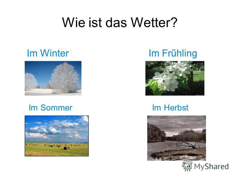 Wie ist das Wetter? Im Winter Im Frűhling Im Sommer Im Herbst