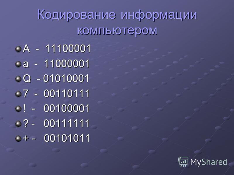 Кодирование информации компьютером А - 11100001 а - 11000001 Q - 01010001 7 - 00110111 ! - 00100001 ? - 00111111 + - 00101011