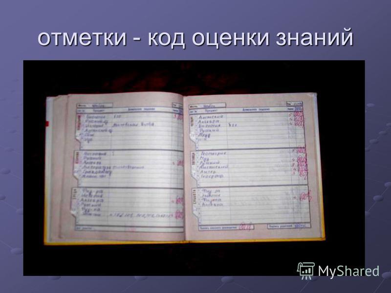 отметки - код оценки знаний