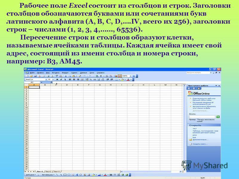 Рабочее поле Excel состоит из столбцов и строк. Заголовки столбцов обозначаются буквами или сочетаниями букв латинского алфавита (A, B, C, D,….IV, всего их 256), заголовки строк – числами (1, 2, 3, 4,……, 65536). Пересечение строк и столбцов образуют