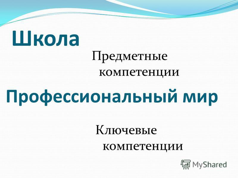 Школа Предметные компетенции Ключевые компетенции Профессиональный мир