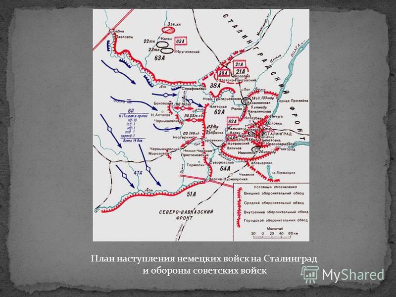 План наступления немецких войск на Сталинград и обороны советских войск