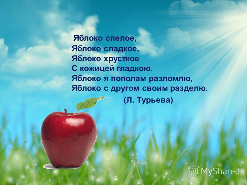 Яблоко спелое, Яблоко сладкое, Яблоко хрусткое С кожицей гладкою. Яблоко я пополам разломлю, Яблоко с другом своим разделю. (Л. Турьева)
