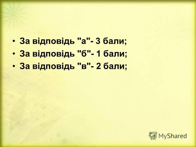 За відповідь а- 3 бали; За відповідь б- 1 бали; За відповідь в- 2 бали;