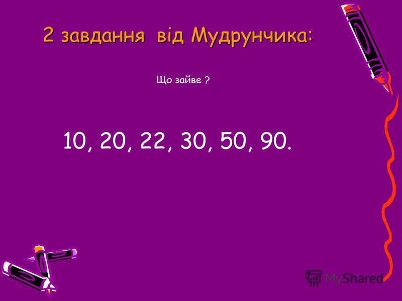 2 завдання від Мудрунчика: Що зайве ? 10, 20, 22, 30, 50, 90.