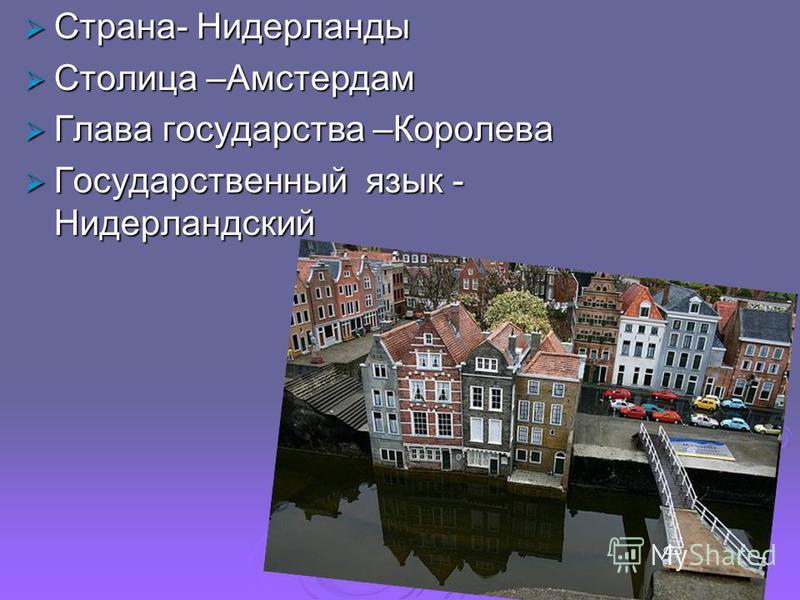 Страна- Нидерланды Страна- Нидерланды Столица –Амстердам Столица –Амстердам Глава государства –Королева Глава государства –Королева Государственный язык - Нидерландский Государственный язык - Нидерландский