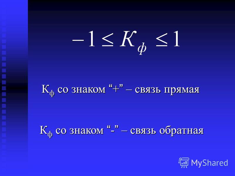 К ф со знаком + – связь прямая К ф со знаком - – связь обратная