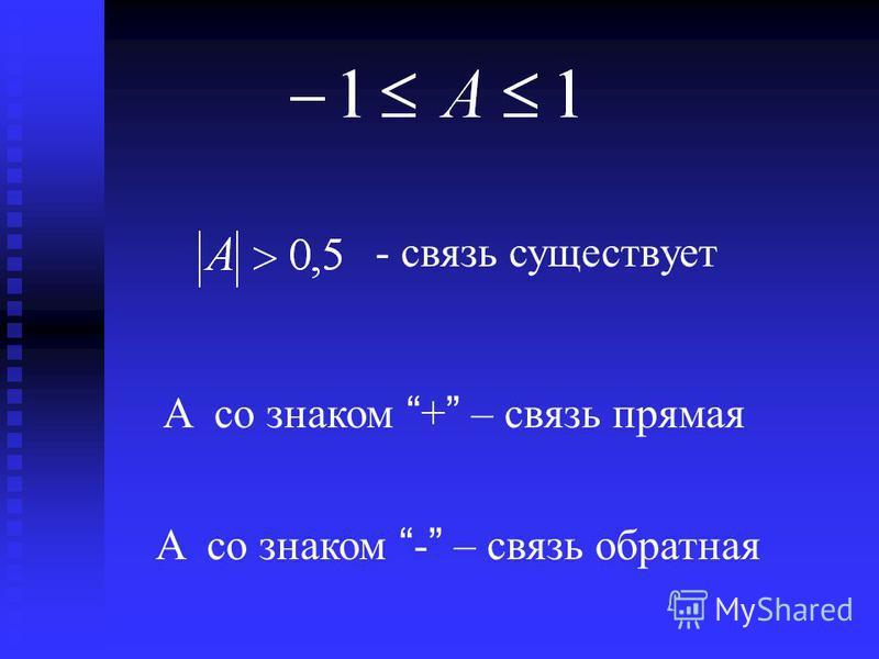 - связь существует A со знаком + – связь прямая A со знаком - – связь обратная
