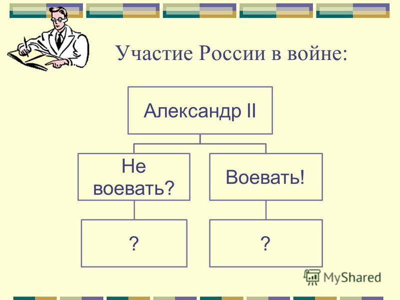 Участие России в войне: Александр II Не воевать? ? Воевать! ?