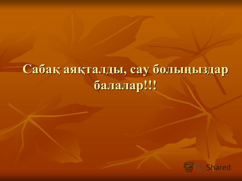 Сабақ аяқталды, сау болыңыздар балалар!!!