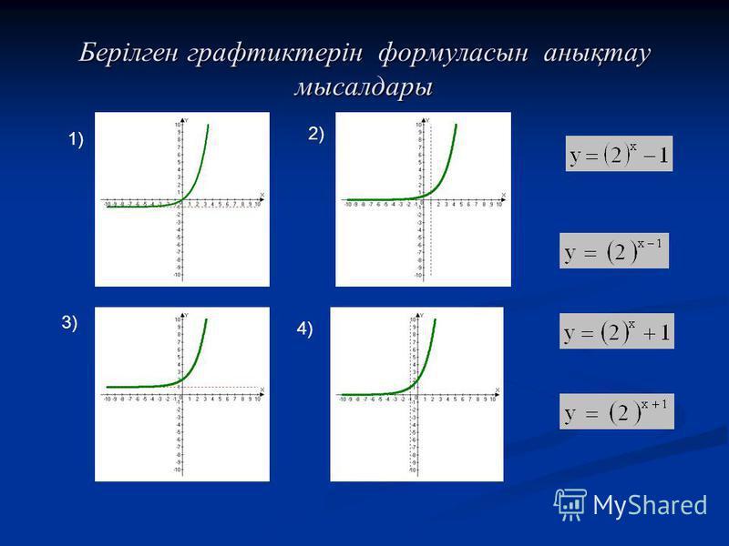 Берілген графтиктерін формуласын анықтау мысалдары 1) 2) 3) 4)
