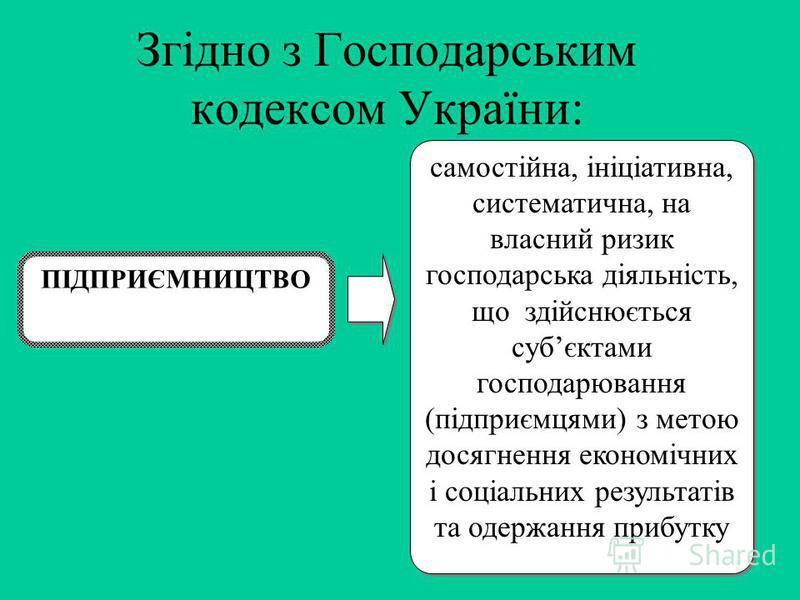 Згідно з Господарським кодексом України: самостійна, ініціативна, систематична, на власний ризик господарська діяльність, що здійснюється субєктами господарювання (підприємцями) з метою досягнення економічних і соціальних результатів та одержання при