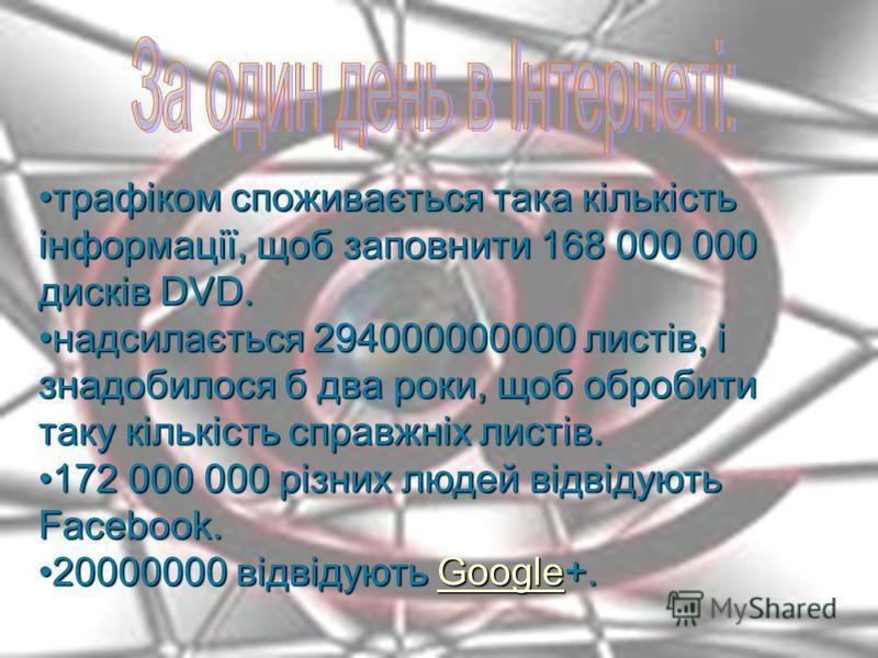 За один день в Інтернеті: трафіком споживається така кількість інформації, щоб заповнити 168 000 000 дисків DVD.трафіком споживається така кількість інформації, щоб заповнити 168 000 000 дисків DVD. надсилається 294000000000 листів, і знадобилося б д
