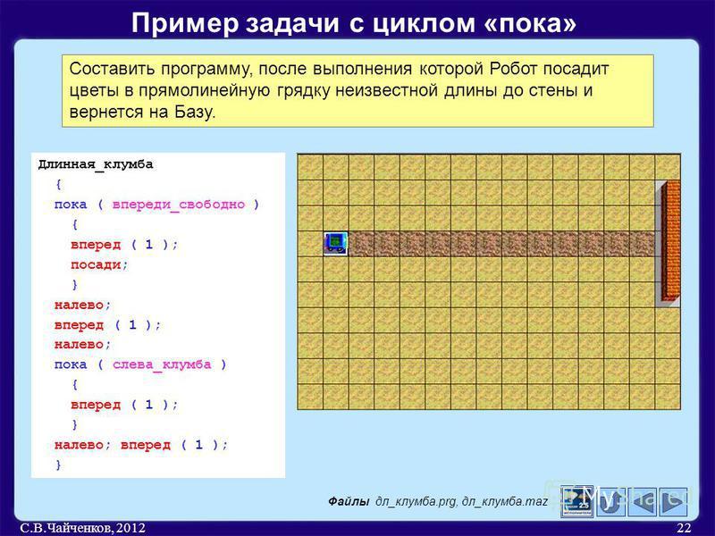 С.В.Чайченков, 201222 Пример задачи с циклом «пока» Составить программу, после выполнения которой Робот посадит цветы в прямолинейную грядку неизвестной длины до стены и вернется на Базу. Длинная_клумба { пока ( впереди_свободно ) { вперед ( 1 ); пос