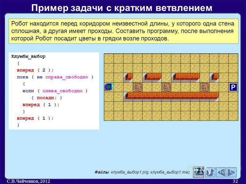 С.В.Чайченков, 201232 Пример задачи с кратким ветвлением Робот находится перед коридором неизвестной длины, у которого одна стена сплошная, а другая имеет проходы. Составить программу, после выполнения которой Робот посадит цветы в грядки возле прохо