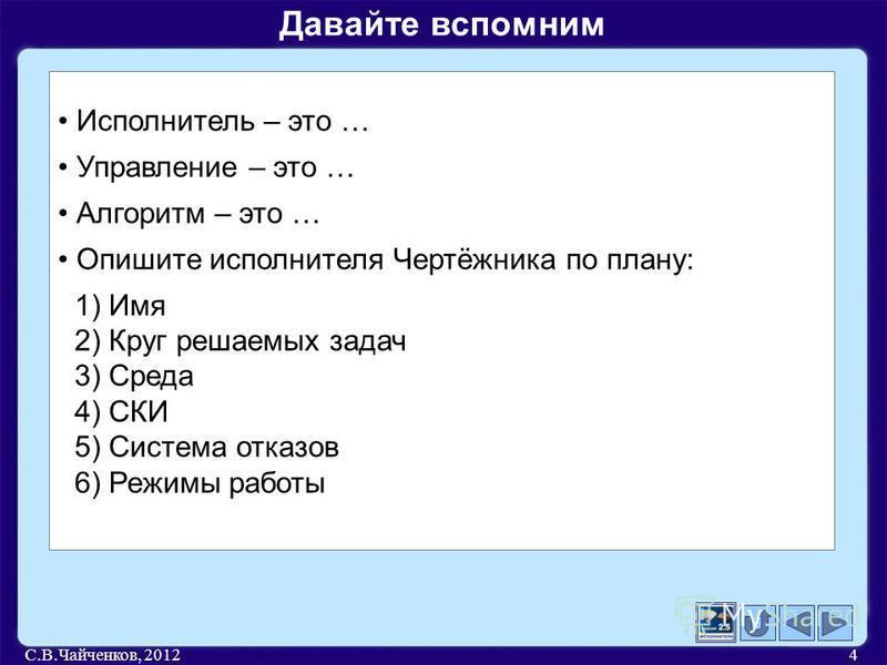 С.В.Чайченков, 20124 Исполнитель – это … Управление – это … Алгоритм – это … Опишите исполнителя Чертёжника по плану: 1) Имя 2) Круг решаемых задач 3) Среда 4) СКИ 5) Система отказов 6) Режимы работы Давайте вспомним