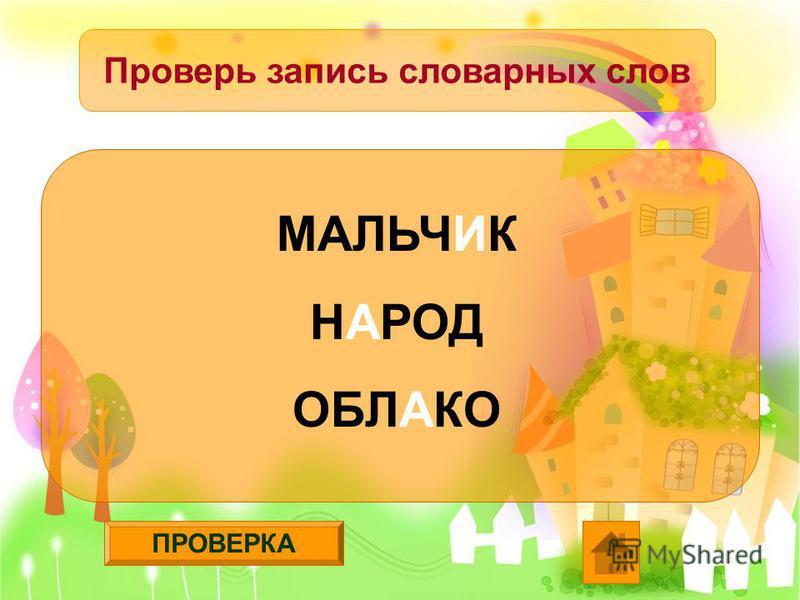 ПРОВЕРКА Проверь запись словарных слов МАЛЬЧИК НАРОД ОБЛАКО