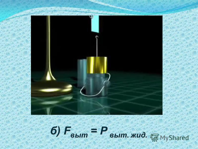 б) F выт = Р выт. жид.