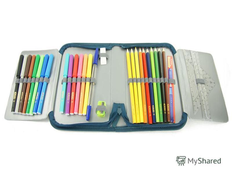 В этой узенькой коробке Ты найдешь карандаши, Ручки, перья, скрепки, кнопки- Что угодно для души.