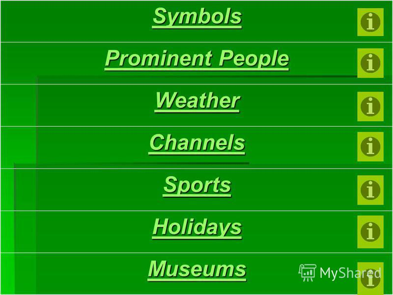 Symbols Prominent People Prominent People Weather Channels Sports Holidays Museums
