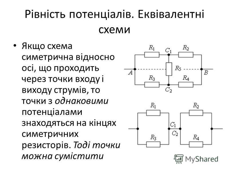 Рівність потенціалів. Еквівалентні схеми Якщо схема симетрична відносно осі, що проходить через точки входу і виходу струмів, то точки з однаковими потенціалами знаходяться на кінцях симетричних резисторів. Тоді точки можна сумістити