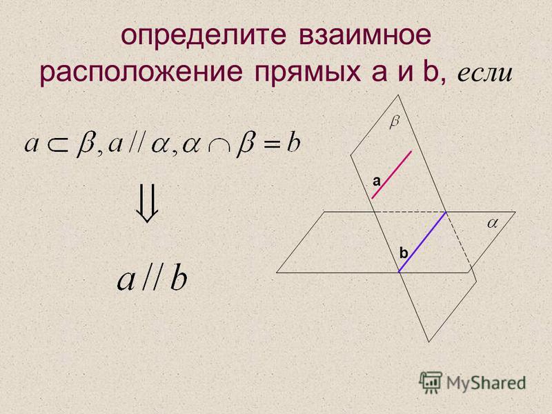 определите взаимное расположение прямых a и b, если а b
