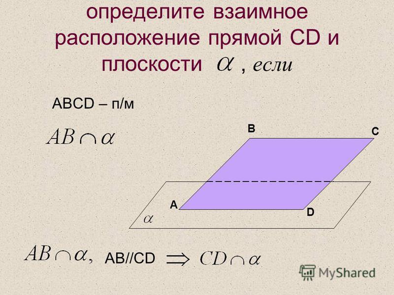 определите взаимное расположение прямой СD и плоскости, если A B C D ABCD – п/м AB//CD