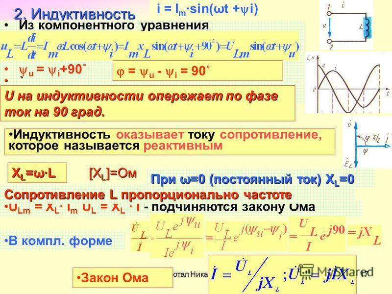 Разработал Никаноров В.Б.17 2. Индуктивность Из компонентного уравнения u = i +90˚ ˚ U Lm = X L I m U L = X L I - подчиняются закону Ома В компл. форме Закон Ома Сопротивление L пропорционально частоте X L =ω·L При ω=0 (постоянный ток) X L =0 i = I m