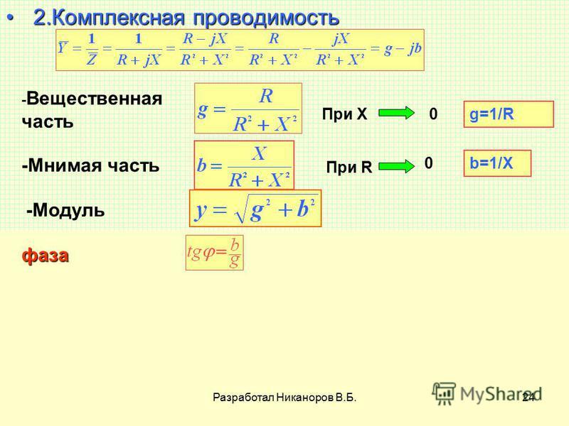 Разработал Никаноров В.Б.24 2 2. Комплексная проводимость - Вещественная часть При X0 g=1/R -Мнимая часть При R 0 b=1/X -Модуль фаза