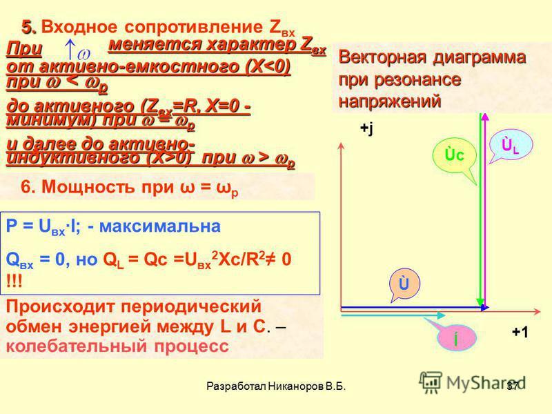 Разработал Никаноров В.Б.37 +1 +j+j ÙLÙL ÙcÙc Ù ĺ Векторная диаграмма при резонансе напряжений При меняется характер Z ах от активно-емкостного (Х<0) при < p до активного (Z ах =R, X=0 - минимум) при = p и далее до активно- индуктивного (Х>0) при > p