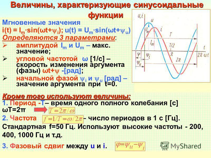 Разработал Никаноров В.Б.6 Мгновенные значения i(t) = I m sin(ωt+ i ); u(t) = U m sin(ωt+ u ) Определяются 3 параметрами: амплитудой I m и U m – макс. значение; угловой частотой ω [1/c] – скорость изменения аргумента (фазы) ωt+ -[рад]; начальной фазо