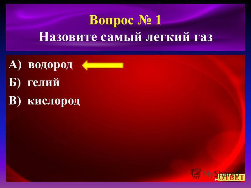 Вопрос 1 Назовите самый легкий газ А) водород Б) гелий В) кислород