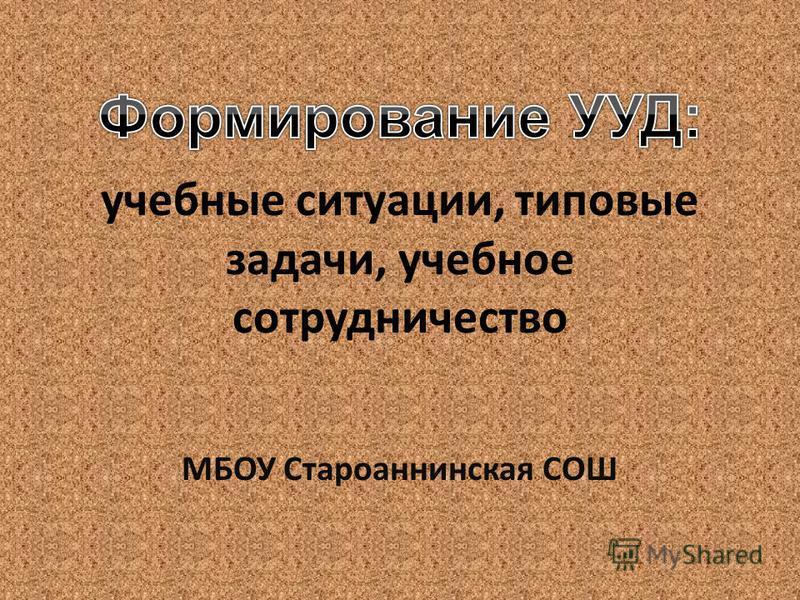 учебные ситуации, типовые задачи, учебное сотрудничество МБОУ Староаннинская СОШ