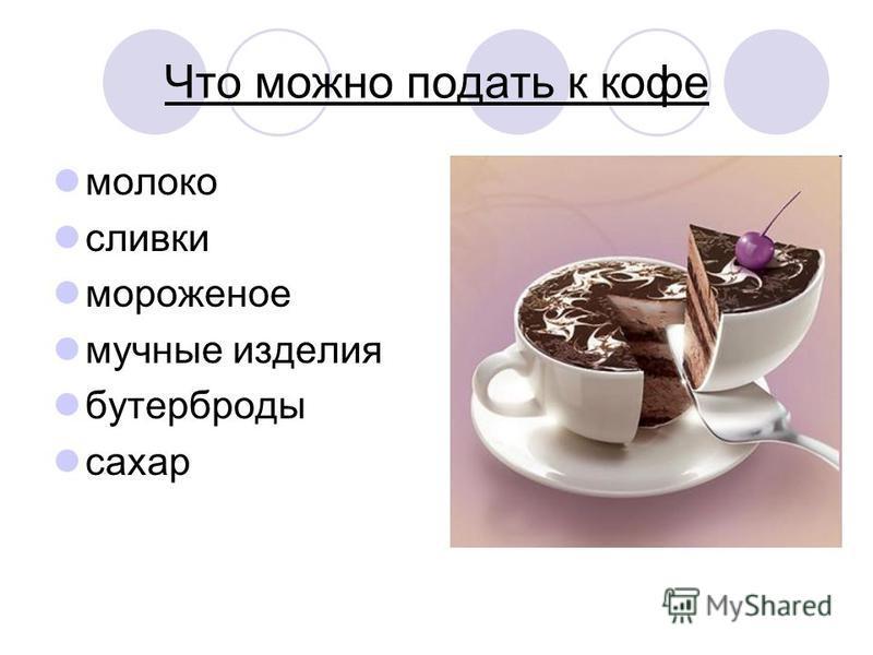Что можно подать к кофе молоко сливки мороженое мучные изделия бутерброды сахар