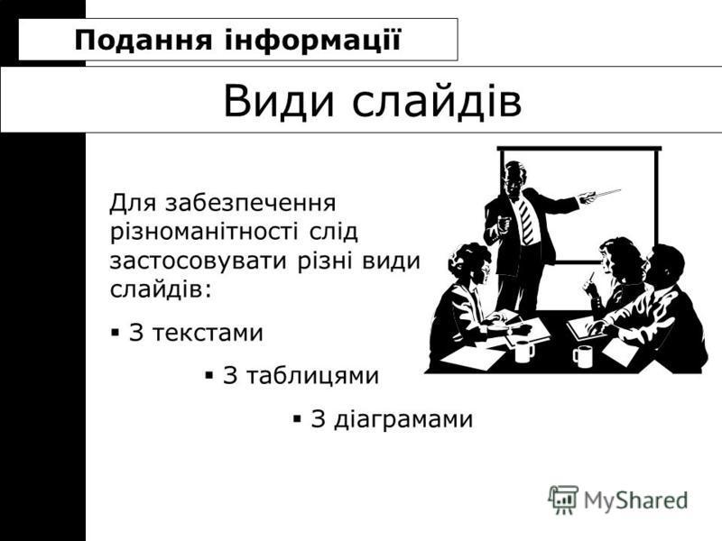 Види слайдів Для забезпечення різноманітності слід застосовувати різні види слайдів: З текстами З таблицями З діаграмами Подання інформації