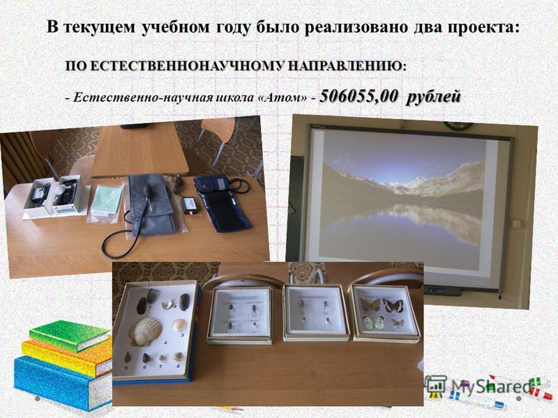 ПО ЕСТЕСТВЕННОНАУЧНОМУ НАПРАВЛЕНИЮ: 506055,00 рублей ПО ЕСТЕСТВЕННОНАУЧНОМУ НАПРАВЛЕНИЮ: - Естественно-научная школа «Атом» - 506055,00 рублей В текущем учебном году было реализовано два проекта: