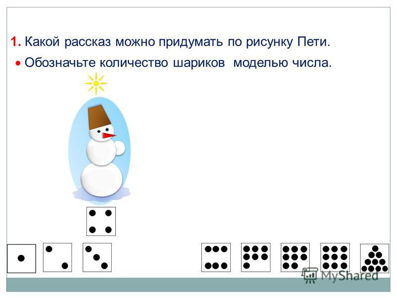 1. Какой рассказ можно придумать по рисунку Пети. Обозначьте количество шариков моделью числа.