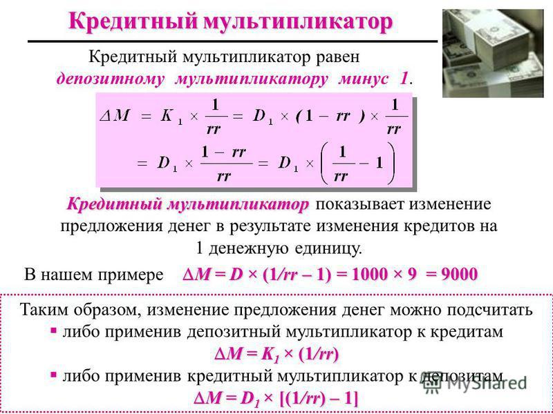 Кредитный мультипликатор Кредитный мультипликатор равен депозитному мультипликатору минус 1. Кредитный мультипликатор Кредитный мультипликатор показывает изменение предложения денег в результате изменения кредитов на 1 денежную единицу. М = D × (1/rr