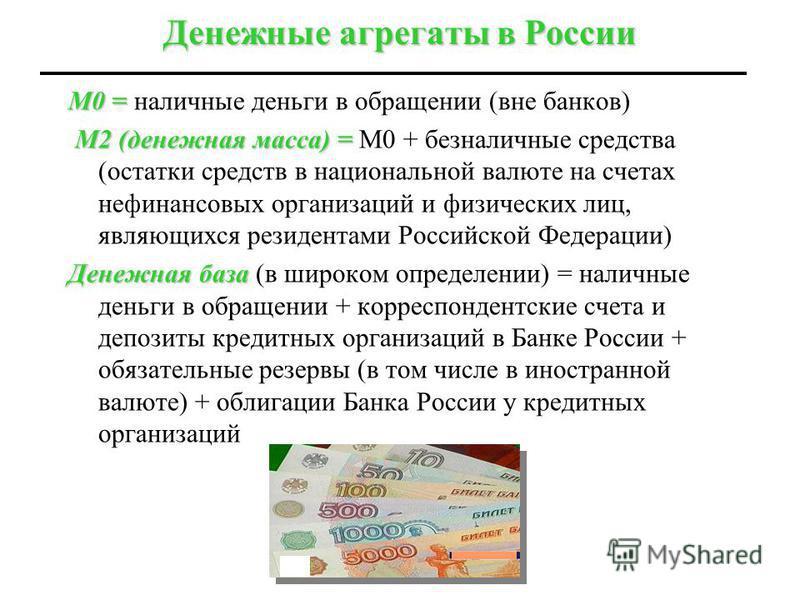 Денежные агрегаты в России М0 = М0 = наличные деньги в обращении (вне банков) М2 (денежная масса) = М2 (денежная масса) = М0 + безналичные средства (остатки средств в национальной валюте на счетах нефинансовых организаций и физических лиц, являющихся