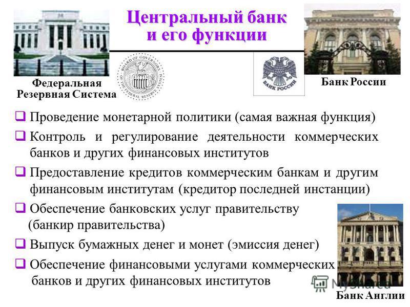 Центральный банк и его функции Федеральная Резервная Система Банк Англии Банк России Проведение монетарной политики (самая важная функция) Контроль и регулирование деятельности коммерческих банков и других финансовых институтов Предоставление кредито