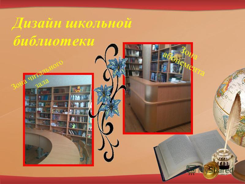 Дизайн школьной библиотеки Зона читального зала Зона абонемента